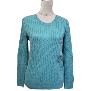Karen Scott Sweater Cable Knit Crewneck Teal Green